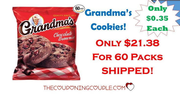 Grandma's Cookies - Only $0.35 per 2 Cookie Pack Shipped!   Grandma's Cookies – Only $0.35 per 2 Cookie Pack Shipped! [adrotate banner = '65']What a great deal from Amazon! Right now, you can stock your pantry with Grandma's Cookies with this HOT deal! These packages are generally around $1.00 each in the stores but if you ...  Click the link below to get all of the details ► http://www.thecouponingcouple.com/grandmas-cookies-only-0-35-per