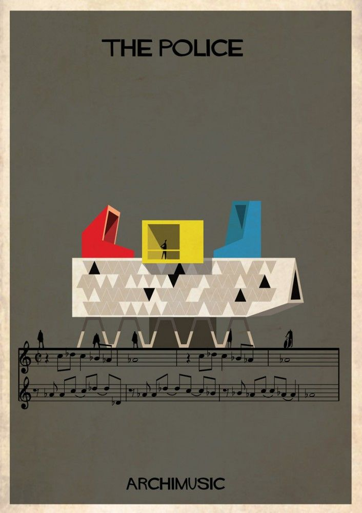 """ARCHIMUSIC: Illustrations Turn Music Into Architecture - Federico Babina / The Police, """"Every Breath You Take"""""""