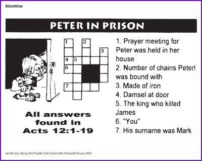 Peter In Prison Crossword Kids Korner Biblewise