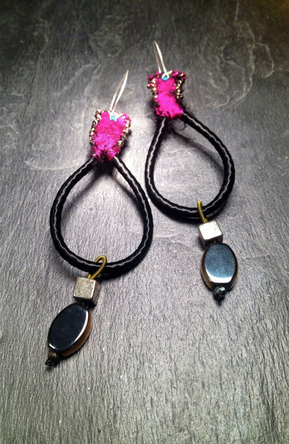 Black & Magenta Embroidered Silk with Gold Pyrite, Gold Hematite // Hand-Made & Hand Designed Sterling Silver Hoops Earrings. Inspired by Oriental Flowers, Satin Kimonos, Tropical Monsoons and Lotus Flowers.