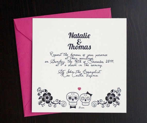 Day Of The Dead Wedding Invitation Suites / Sugar Scull By Sthblue, $46.00