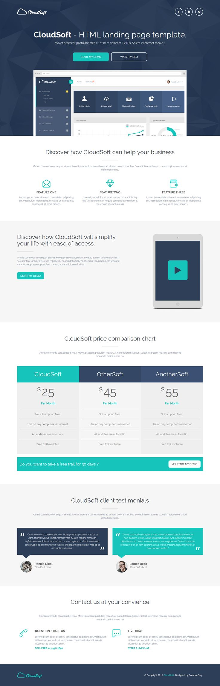 Cloud Soft - HTML Landing Page Template #website #webdesign Live Preview & Download: http://themeforest.net/item/cloud-soft-html-landing-page-template/12364255?ref=ksioks