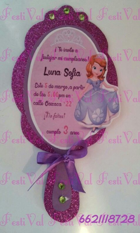 Invitation, invitacion. Princes Sofia, princesa, orincesita sofia.