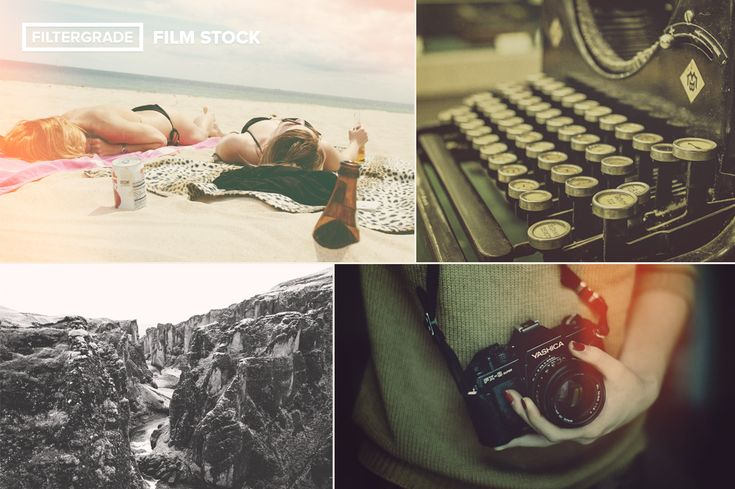 Four extended previews of the light leaks, analog filters, and looks included in FilmStock.