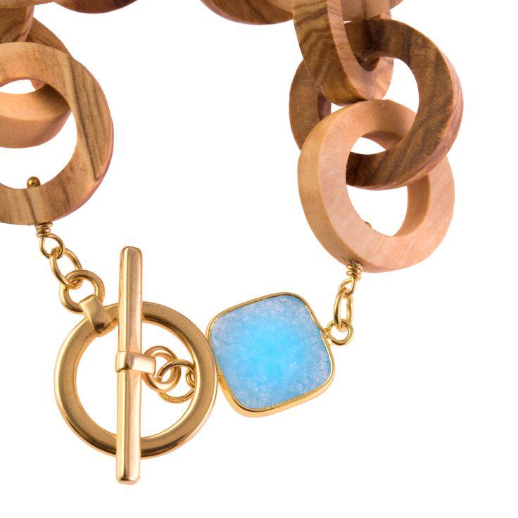 Details in Blue Olive Wood Bracelet