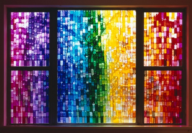 Filtersamples for Spectrum, 2009 by Jessica Eaton who covered a window with gels. #Jessica Eaton #Photography #lightbox_time: Filtersamples, Stainedglass, Window, Color, Filter Samples, Art, Jessica Eaton, Rainbow, Stained Glass