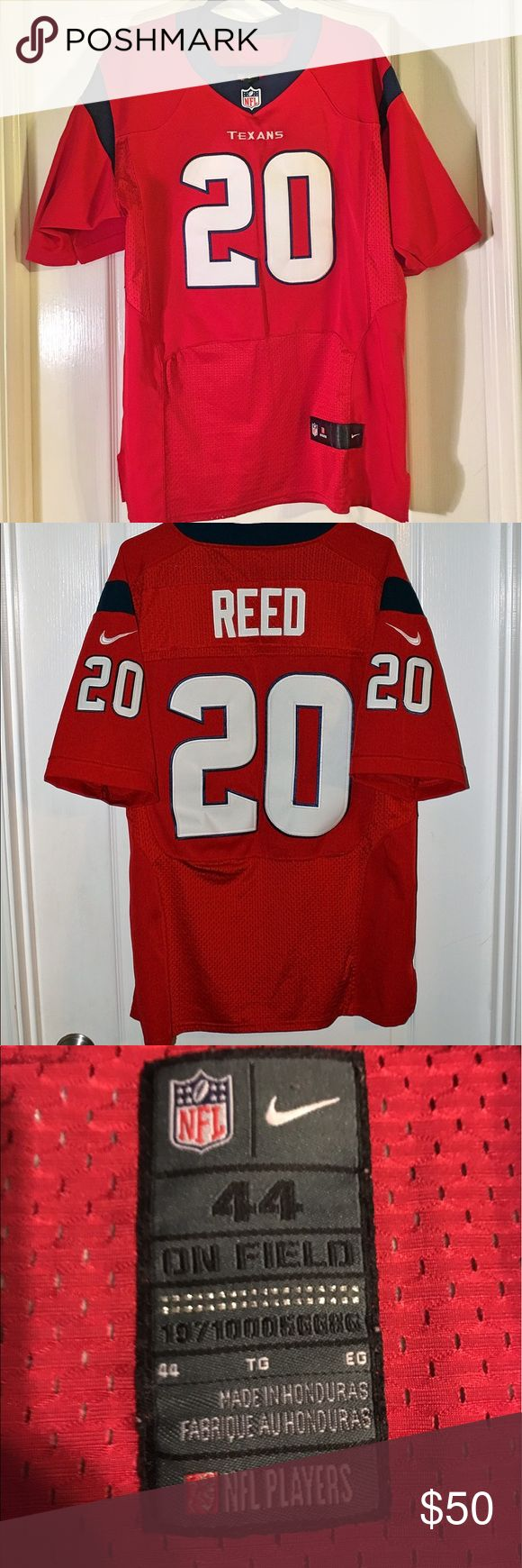 """Nike NFL Texans Ed Reed Jersey Nike NFL Texans Jersey ~ Ed Reed #20 ~ Size 44 ~ UA to UA is approximately 23"""" ~ Length is approximately 31"""" ~ Last two pictures show loose stitching on sleeve and back shoulder Nike Shirts"""