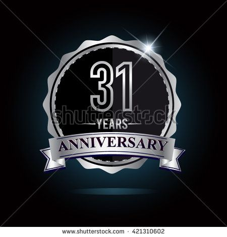 31st anniversary logo with ribbon. 31 years anniversary signs illustration. Silver anniversary logo with ribbon. - stock vector