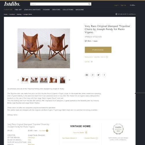 1stdibs.com - Very Rare Original Stamped Tripolina Chairs By Joseph Fendy For Paolo Vigano - Belle Magazine Aug - Sep 2015   |   designlibrary.com.au