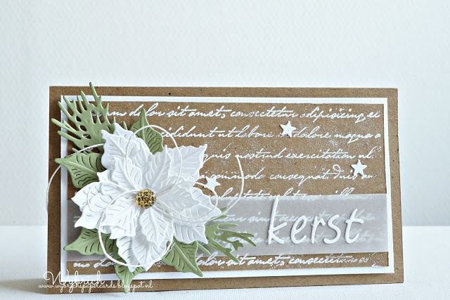 Handmade card by DT member Wybrich with Creatable Petra's Poinsettia (LR0435), Craftable Tiny's Pine Tree Branch (CR1378) and Collectables Charming Alphabet (COL1397) from Marianne Design