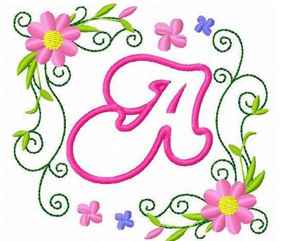 Applique flowers machine embroidery designs font alphabet