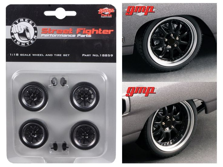 """1970 Plymouth Road Runner """"The Hummer"""" 10 Spoke Street Fighter Wheels and Tires Set of 4 1/18 by GMP - Brand new 1:18 scale 1970 Plymouth Road Runner """"The Hummer"""" 10 Spoke Street Fighter Wheels and Tires Set of 4 by GMP. Officially Licensed Product.-Weight: 1. Height: 5. Width: 9. Box Weight: 1. Box Width: 9. Box Height: 5. Box Depth: 5"""