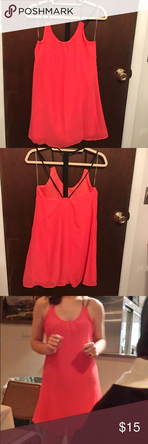 Coral Sundress Coral sundress perfect for a Florida vacation! Worn to a beach wedding. Paired nicely with black/cork wedges. Charlotte Russe Dresses Mini