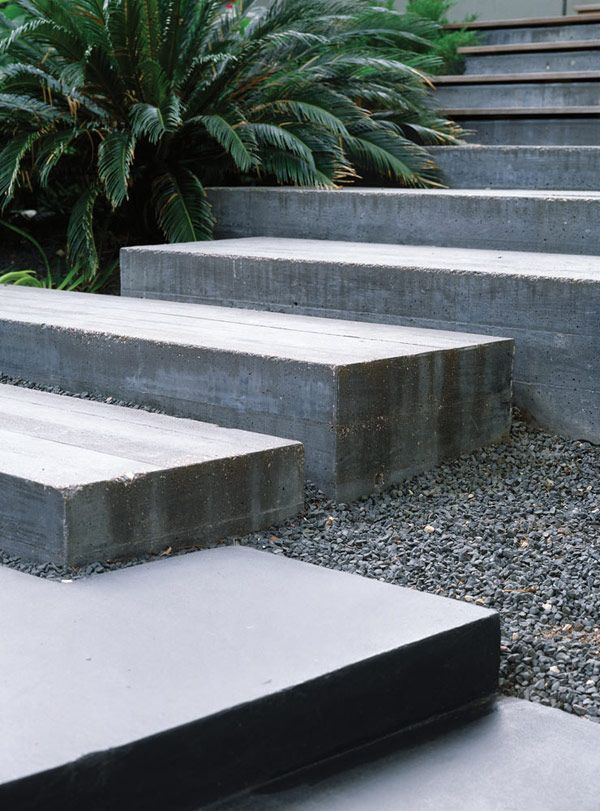 Poured concrete & gravel stepsPour Concrete, Concrete Step, Concrete Gardens, Modern Houses, Landscapes, Outdoor Spaces, Outdoor Stairs, Collector House, Front Step