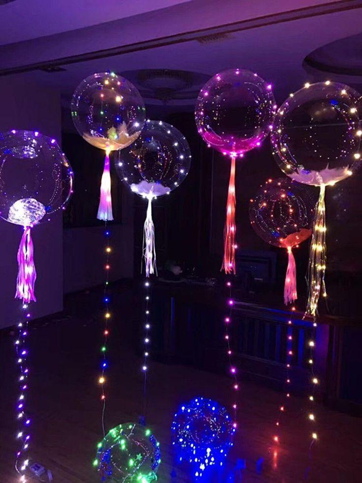 1x LED Luftballons Transparen Leuchtende Geburtsta…