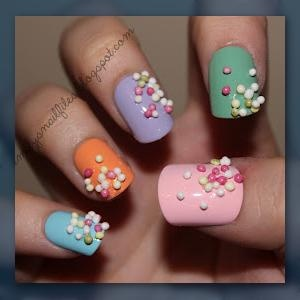 Nails with sprinkles - So CUTE!