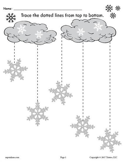 FREE Printable Winter Snowflakes Line Tracing Worksheets ...