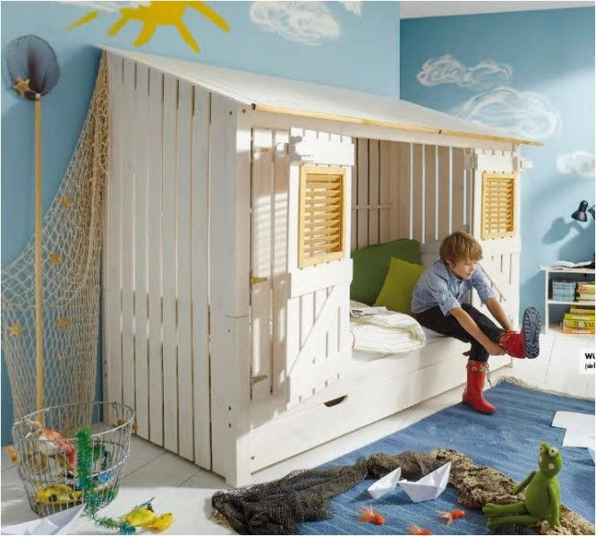 Jugendbett Kinderbett Kojenbett Bett Kiefer massiv weiss/laugenfarbig abgesetzt   eBay