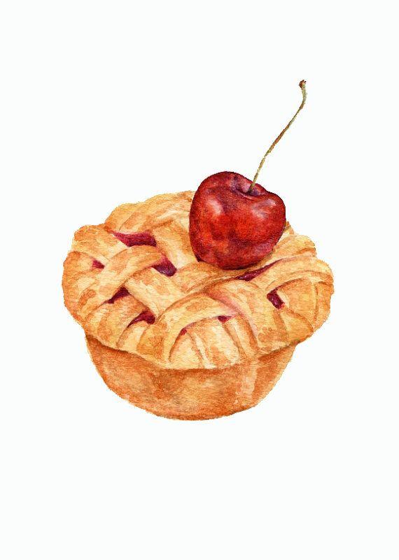 Mini Cherry Pie   ORIGINAL Painting Still Life por ForestSpiritArt, £20.00