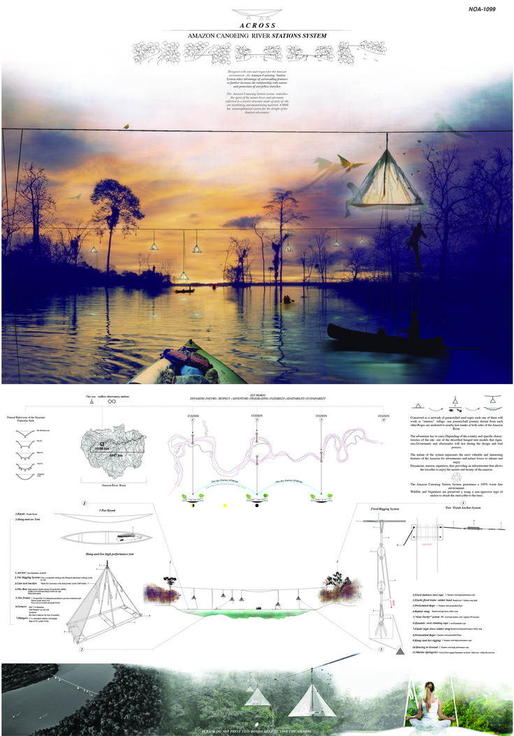 Primer Lugar en Concurso de Ideas Nature Observatory of Amazonia (NOA) / Brasil,Lámina. Image Cortesia de Equipo Primer Lugar