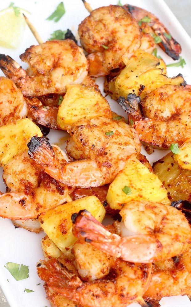 Sriracha-Lime Shrimp & Pineapple Skewers recipe by SeasonWithSpice.com