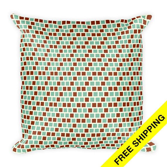 Green Accent Pillow Patterned Couch Pillow Decorative Bed