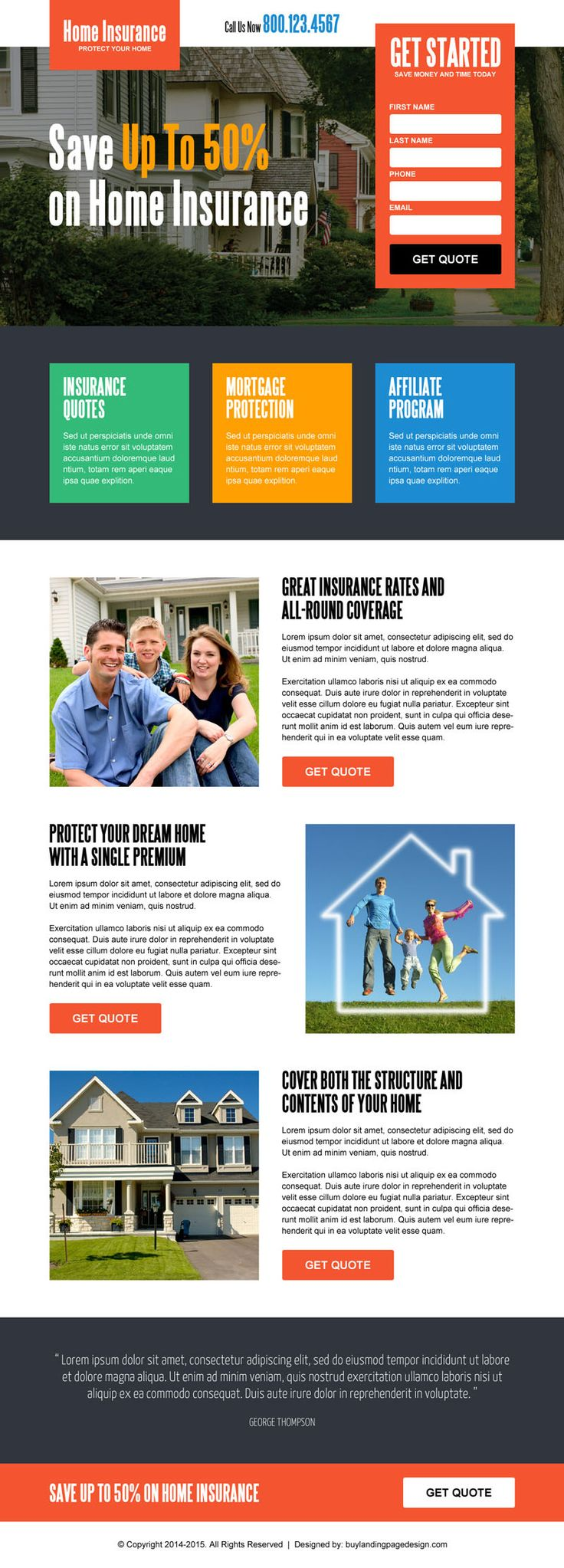 save money on home insurance lead generating responsive squeeze page design