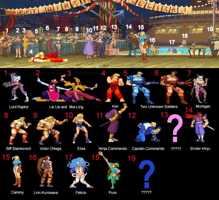 Ken's Street Fighter Alpha 2 Stage : All the Cameos