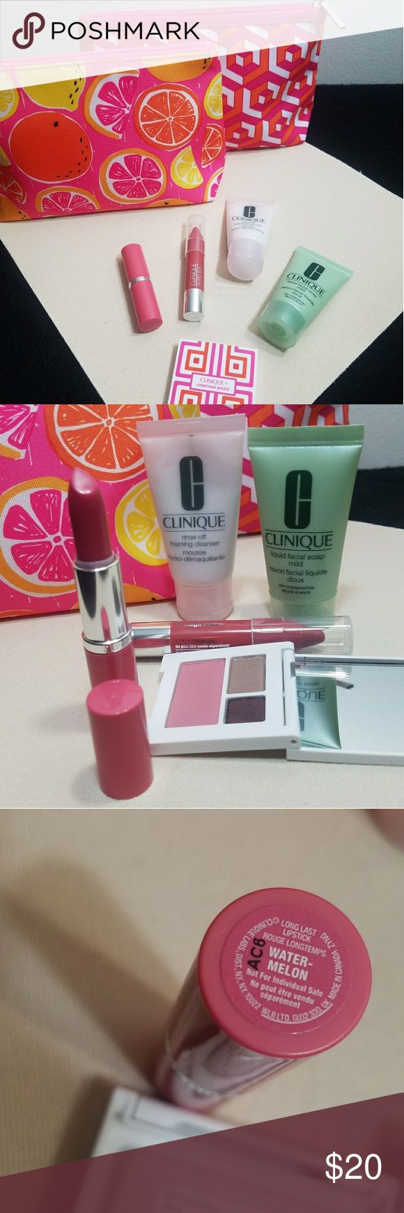 Clinique makeup sample bundle includes  1. pink / orange / yellow fruit makeup bag  2. pink /orange /white geometric Johnathan Adler makeup bag 3. mild liquid facial soap 1 fl oz 4. rinse off foaming cleaner mousse 1 fl oz 5. chubby stick moisturizing lol balm 04 Mega Melon  6. long last lipstick in Watermelon  7. trio clinique and Johnathan Adler in 03 Morning Java, 08 Cupid, 1c foxier bundle for a discount  makes a great Christmas Xmas gift or stocking stuffer for the makeup lover in your…