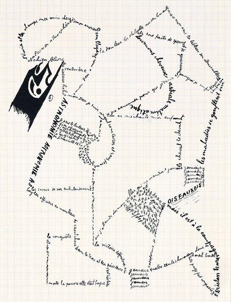Calligramme, 1916/1959. Tristan Tzara