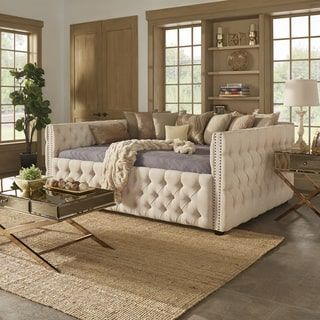 Knightsbridge Full Size Tufted Nailhead Chesterfield Daybed and Trundle by SIGNAL HILLS - Free Shipping Today - Overstock.com - 20918745 - Mobile
