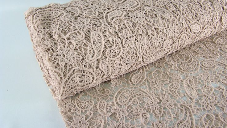0,5mtr Dicker Paisley Spitzen Stoff LUXE LACE Farbe NUDE S41