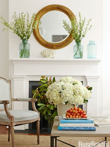 Try taking a few beautiful art books down off the shelf and using them to break up a coffee table's surface.: Mantels, Mantles Decor, House Beautiful, Ideas, Coffee Tables, Living Rooms, Livingroom, Fireplaces, Flower