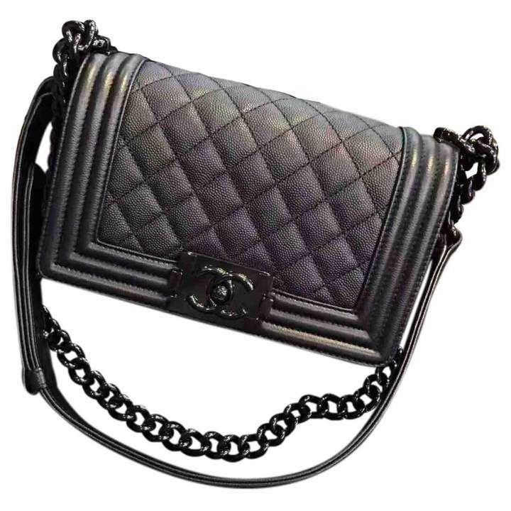 Chanel Boy Bag in Black Caviar Leather   #Ad