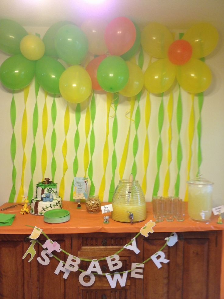 colorful baby shower decorations. ballons with streamers  would want different colors though not a fan of these Baby Shower DecorationsStreamersShower 32 best Fairy Garden images on Pinterest baby