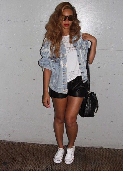 Beyoncé - oversized jean jacket, tee and shorts
