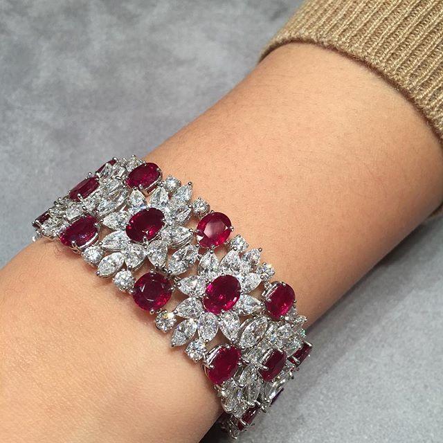 Adoring this elegant Burmese unheated ruby and diamond bracelet, by #HarryWinston #ChristiesJewels #PigeonBlood