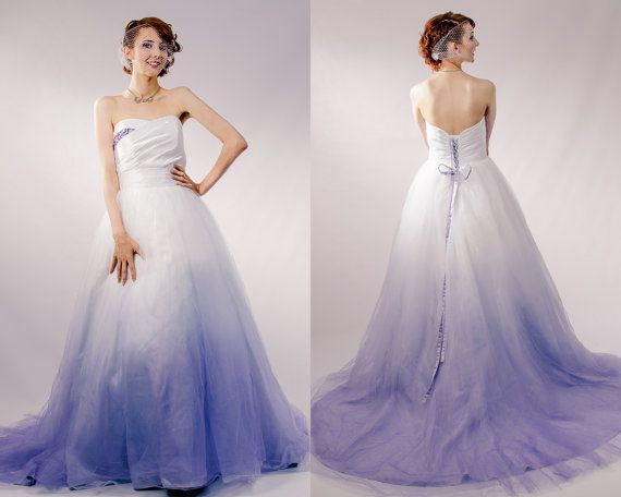 Purple Ombre Tulle Wedding Dress - Couture Wedding Gown - Colored Wedding Dress Pink, Blue, Green, Yellow, Orange, Purple