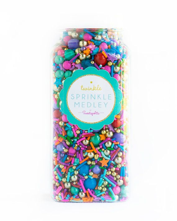 Rock the Casbah Twinkle Sprinkle Medley, Moroccan Sprinkles, Gold and Rainbow, Sprinkle Mix -- Med 8oz
