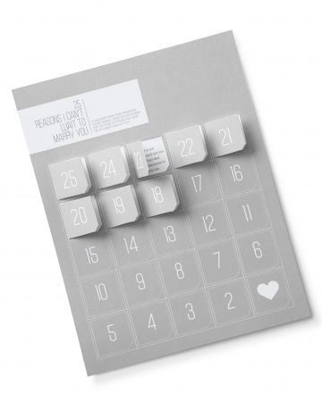 Wedding Day Countdown :: Remind your guy exactly why he's your main squeeze with an Advent calendar–style countdown. Twenty-five days out, give your groom this handmade memento that's all about him. Type something sappy, keep it light, or skip words altogether and glue on little photos of you two instead. Our favorite option is a mix of all of the above. Every morning, he can peel back a tab to get a daily dose of love.