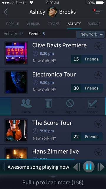 Beautiful events screen for a music app. Visit our site for more awesome UI designs!