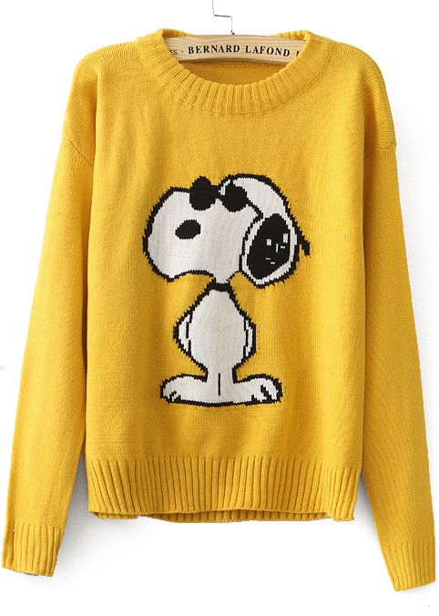 Shop Yellow Long Sleeve Snoopy Pattern Knit Sweater online. Sheinside offers Yellow Long Sleeve Snoopy Pattern Knit Sweater & more to fit your fashionable needs. Free Shipping Worldwide!