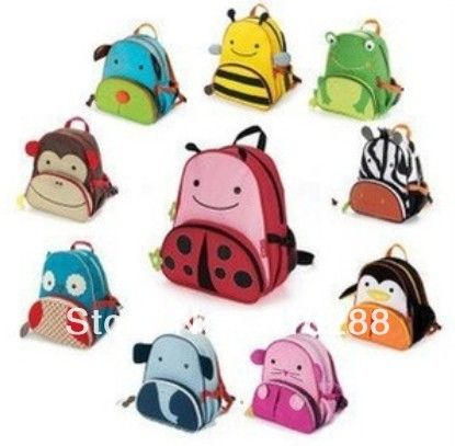 Free shipping canvas double-shoulder kindergarten school bag kids cartoon school bag  animal backpack zoo pack for children $8.58 - 9.48