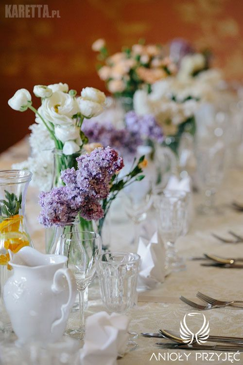 1. Lilac Wedding,Lilac centerpiece / Wesele z bzem,Dekoracje stołów,Anioły Przyjęć