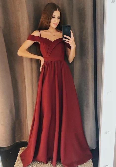 0ab9744598d Burgundy Prom Dress Long Off The Shoulder Straps