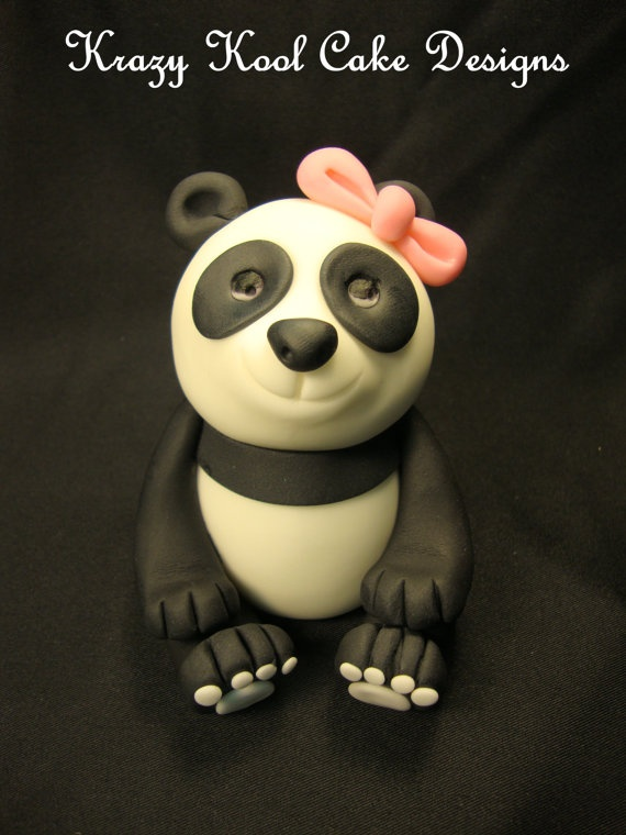 Panda Cake Topper by KrazyKoolCakeDesigns on Etsy, $40.00
