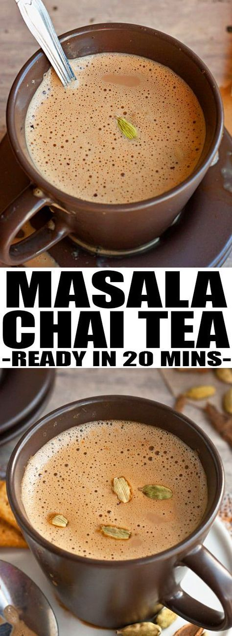 Learn how to make MASALA CHAI TEA LATTE at home. It's rich, creamy and slightly sweet with the perfect balance of spices. From cakewhiz.com #tea #masalachai #latte