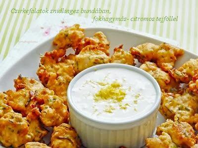 Kakukkfű: Csirkefalatok snidlinges bundában, fokhagymás-citr...