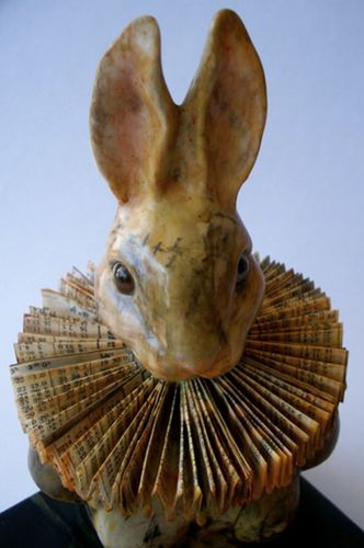 papier mache bunny with folded paper collar