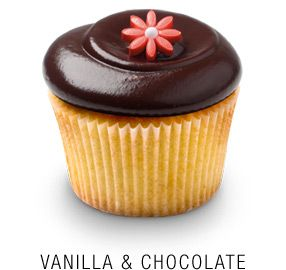 Vanilla & Chocolate - Classic madagascar bourbon vanilla cupcake   with a whipped Callebaut chocolate frosting topped with a fondant flower